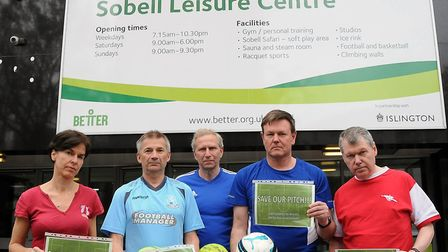 Sobell five-a-side players Tamsin Oglesby, Paul Millington, Mark Merchant, John Barber and Peter Mur