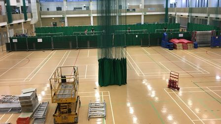 June 27: Not much progress, but some fences had been erected alongside the badminton courts