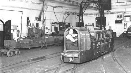 Post Office underground railway: a man operates a shunting vehicle in 1935. Picture: Royal Mail