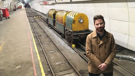 Tim Ellison, deputy director of the Postal Museum, on the underground Mail Rail tracks. Picture: Jam