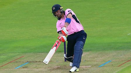Brendon McCullum in batting action for Middlesex (pic Gavin Ellis/TGS Photo)