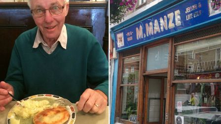 Dennis cracked the 'biggest smile in ages' after visiting his favourite pie and mash shop, Manze's.
