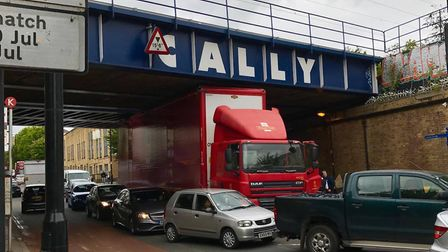 The lorry was stuck for about 90 minutes. Picture: Duncan Hamilton