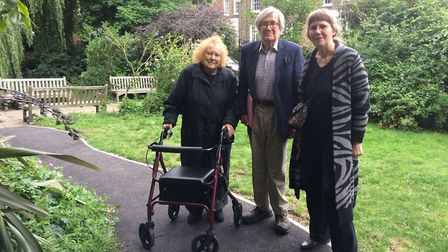 Diane Brace and Jack Lambert of Friends of New River Walk with Cllr Clare Jeapes on the new pathway