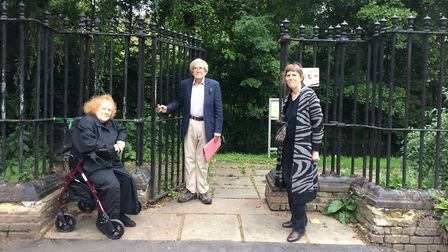 Diane Brace and Jack Lambert of Friends of New River Walk with Cllr Clare Jeapes on one of the raise