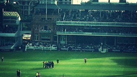 Essex celebrate the wicket of Middlesex's Brendan McCullum. Credit Layth Yousif