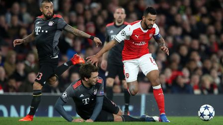 Arsenal's Theo Walcott in action during the Champions League last-16 tie with Bayern Munich at the E
