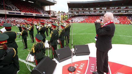 Constable Alex Morgan returned for one final song at the Highbury farewell in 2006. Picture: Stuart