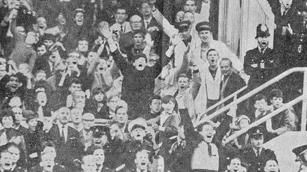 Constable Alex Morgan, bottom right, celebrating an Arsenal goal in a newspaper cutting. Picture: fa