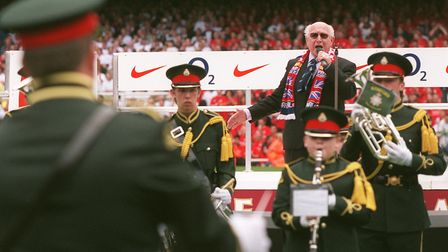 Constable Alex Morgan returned for one final song at the Highbury farewell in 2006. Picture: David P