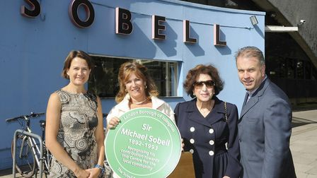 Celebrating the plaque to Sir Michael Sobell are (L-R) Cllr Catherine West, Gaie Scouller, Hilda Rub