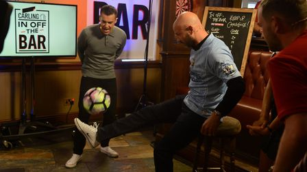Sky Sports programme Carling In Off The Bar is filmed live in a pub (pic SWNS.com)