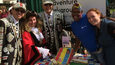 Islington mayor Una O'Halloran and the pearly king and queens visited the street party. Picture: Awe
