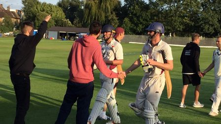 North Middlesex celebrate their win over Hampstead in the Middlesex Premier Division on Saturday (pi