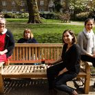 Modelling the N1 Women's Institute bench, from left: Laura Mark, Bobbie Lewis, Rosie Harvey and Hele
