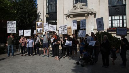 Newbery House leaseholders protesting �11,600 charges for repair work. Picture: Laurie Young
