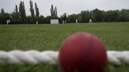 A cricket ball lies beyond the boundary rope (pic George Phillipou/TGS Photo)