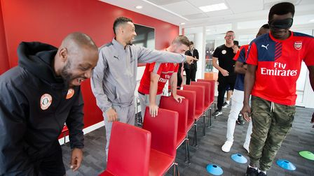 Arsenal in the Community launches its joint scheme with Centrepoint. Francis Coquelin takes part in