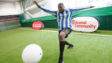 Arsenal in the Community launches its joint scheme with Centrepoint. A training session at the Arsen
