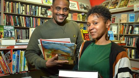 Renaldo and Vanessa La Rose at New Beacon Books before it was gutted. Picture: Polly Hancock
