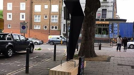 A smart bench in Essex Road - the one that will be allowed to remain. Picture: Islington Council