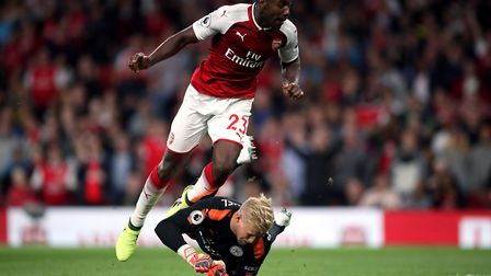 Danny Welbeck scores Arsenal's second goal against Leicester (pic Nick Potts/PA)