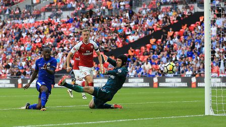 Chelsea's Victor Moses scores against Arsenal during the Community Shield at Wembley (pic Nigel Fren