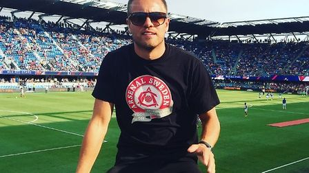 Pierre Hertin from the Arsenal Sweden supporters club at the Avaya Stadium, San Jose for Arsenal v M
