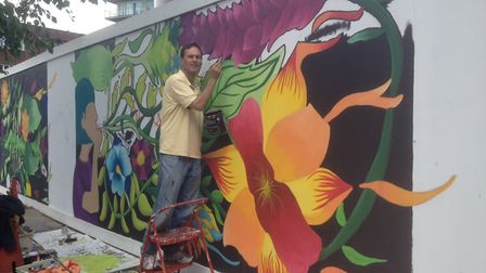 Paul Lorber of Barham Park Library helping out with the new murals at Wembley Central