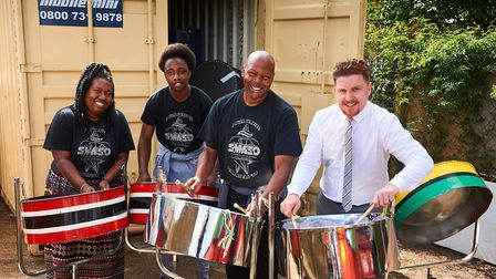 Candice Falconer, Dylan Mitchell and Patrick McKay from the St Michael's & All Angels Steel Band wit