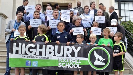 Campaigners from both Barnard Park football pitches and the Sobell Centre outside the Town Hall befo
