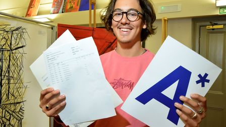 A level results day at Northbridge House School, Canonbury. Kerem Edmonds gained an A* in art and tw