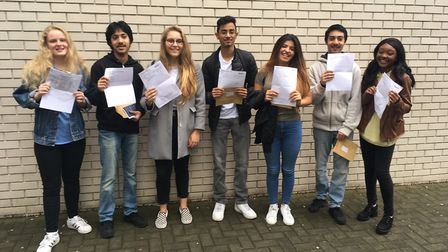 Star students at City of London Academy Islington on A-level/BTEC results day 2017. Picture: James M