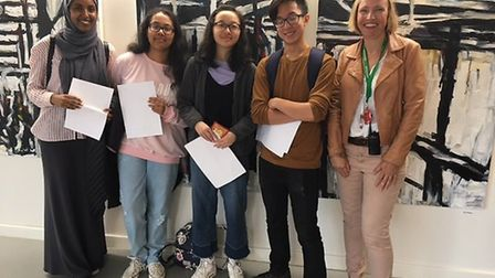 Yasmin Ali, Iqra Iqbal, Jodie Lee and Oliver Yuen with headteacher Judith Enright