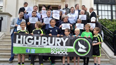 Campaigners from the Sobell Centre five-a-side league and Barnard Park protest the closure of their