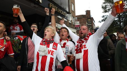FC Koln fans outside The White Swan pub in Upper Street before the game. Picture: Nick Potts/PA Wire