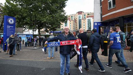 Scarves on sale before the Premier League match at Stamford Bridge, London.