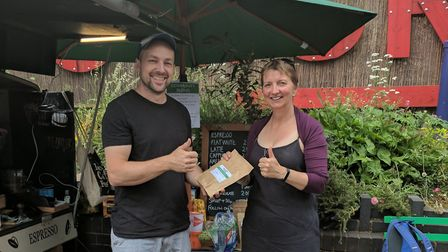 James from Cricklewood Coffee with Wendy Tyrrell of Cricklewood Library
