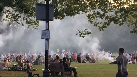Smoky barbecues in Highbury Fields. Picture: submitted to Islington Gazette