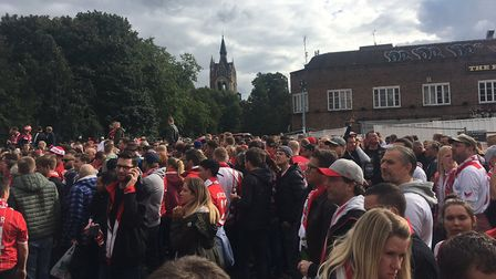 Away fans blocking Highbury Corner on Thursday afternoon. Picture: Emily Bawtree/Twitter