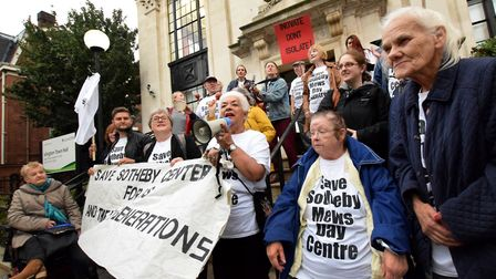 Sotheby Mews Day Centre campaigners on the steps of Islington Town Hall before last night's full cou