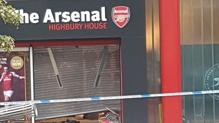 The Arsenal store in Drayton Park was cordoned off this morning. Picture: Ray Collins