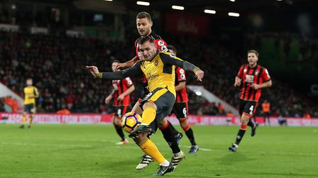Arsenal's Lucas Perez is set to leave the club. Pictured scoring his side's second goal of the game
