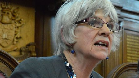Cllr Janet Burgess speaking at a social care meeting at Islington Town Hall in April. Picture: Polly