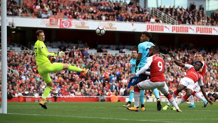 A general view of the action during the Premier League match at the Emirates Stadium, London.