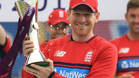 England's captain Eoin Morgan collects the trophy for the Natwest T20 Series win over South Africa (