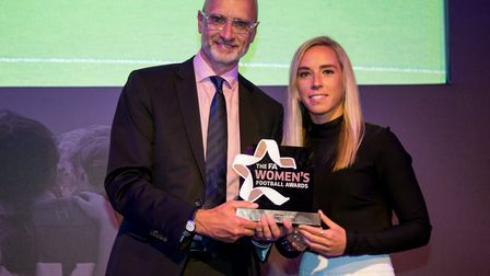 Arsenal's Jordan Nobbs, winner of the FA WSL 1 Goal of the Spring Series, with head of BT Sport Simo