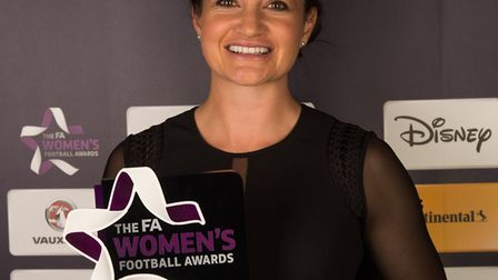 Arsenal's Jodie Taylor, winner of the Vauxhall England Player of the Year prize at The FA Womens Fo