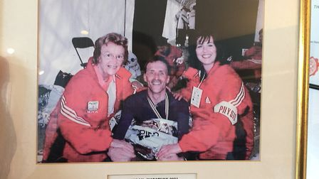 Kay at the London Marathon in 2001, where she was working as a physio on the finish line. Picture: N