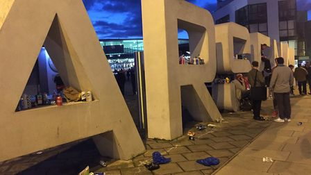 Rubbish around the Emirates Stadium after the match last week. Picture: Cllr Caroline Russell